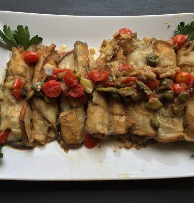 involtini di melanzana ripieni di tofu