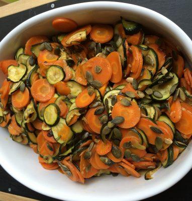 verdure saltate con semi di zucca